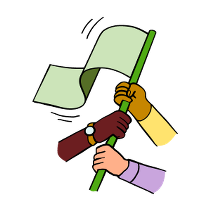 Illustration of three people holding a green flag