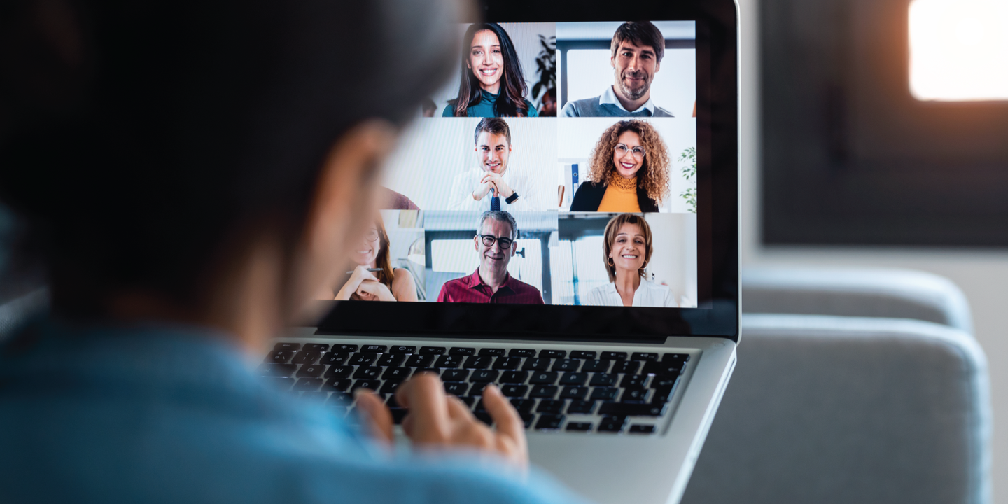 Person on a video call with team members