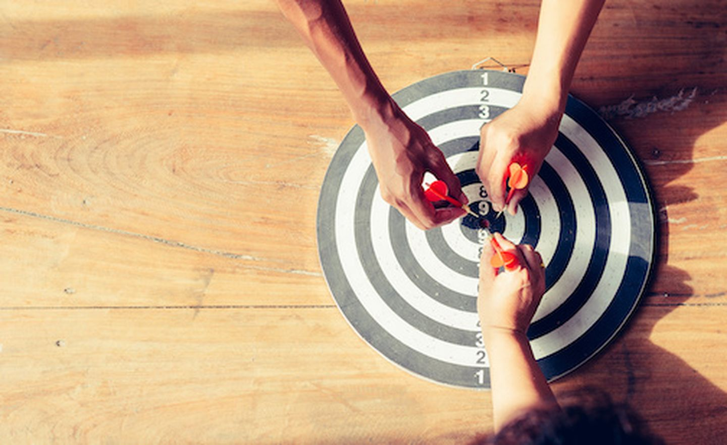 Meaningful target of business dart is an opportunity and dartboard is the target and goal business marketing as concept