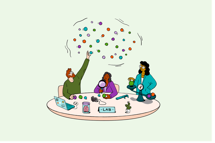 Illustration of three people at a table, reaching for a data cloud; investigating and weighing items