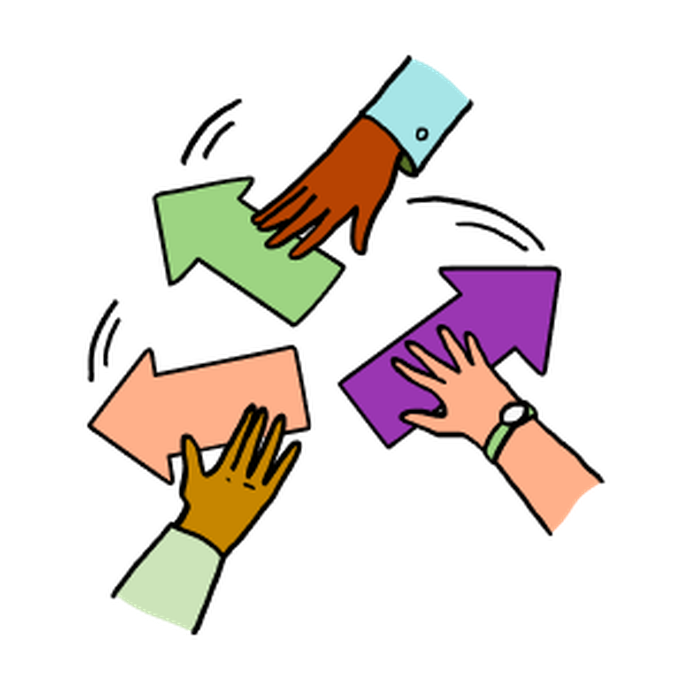 Illustration of three hands holding arrows pointing in different directions with lines suggesting movement