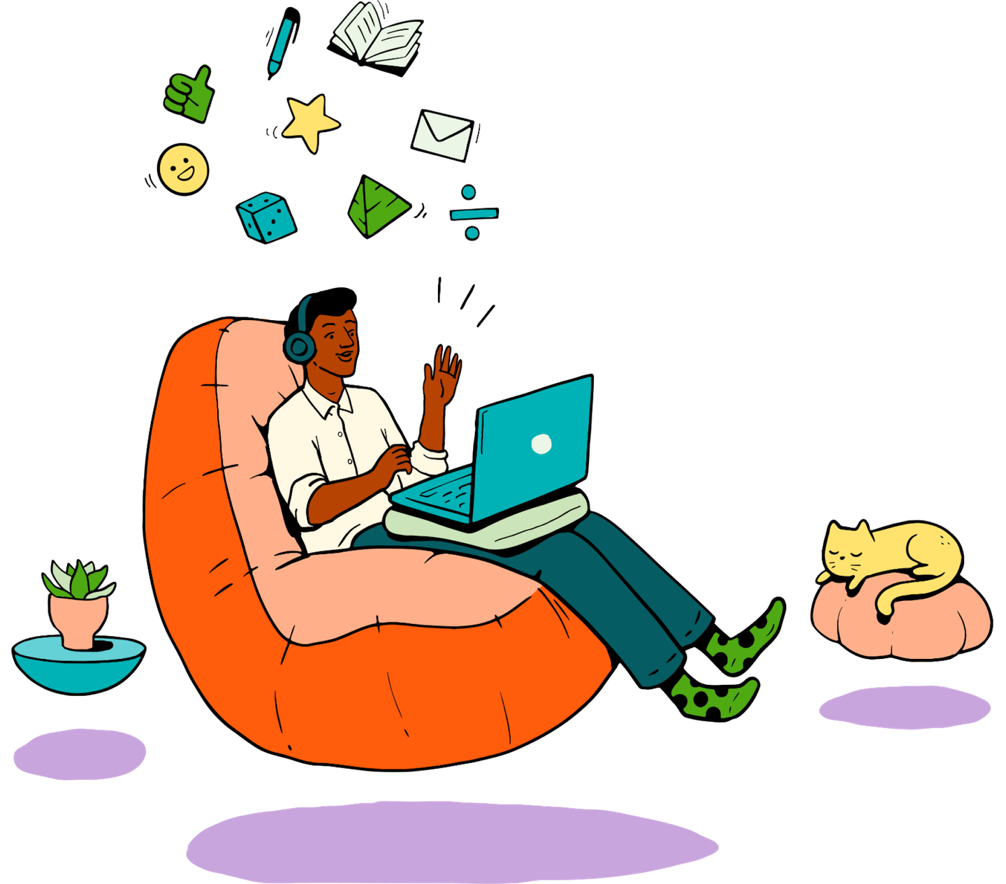 Illustration of a person sitting in a floating chair with headphones on a virtual call