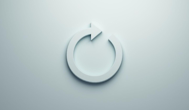 Circular redo arrow 3d blue render illustration