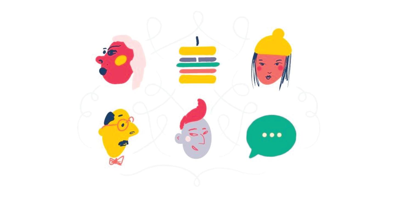 Illustration of six icons depicting feedback