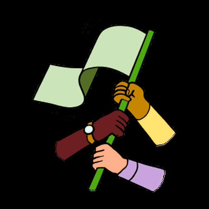 Illustration of three team members holding the same flag