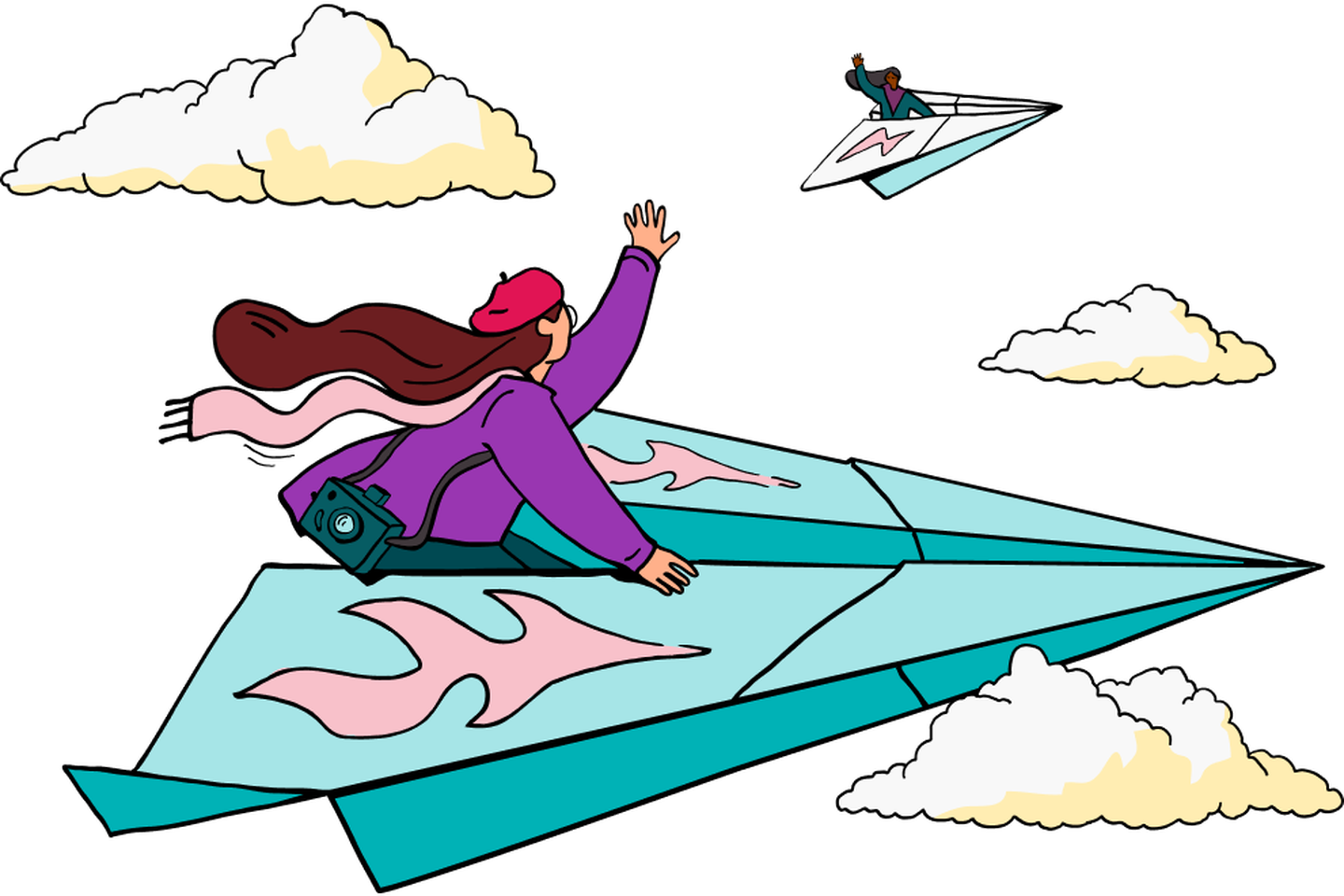 Illustration of a person sitting atop of a paper plane flying in the sky.