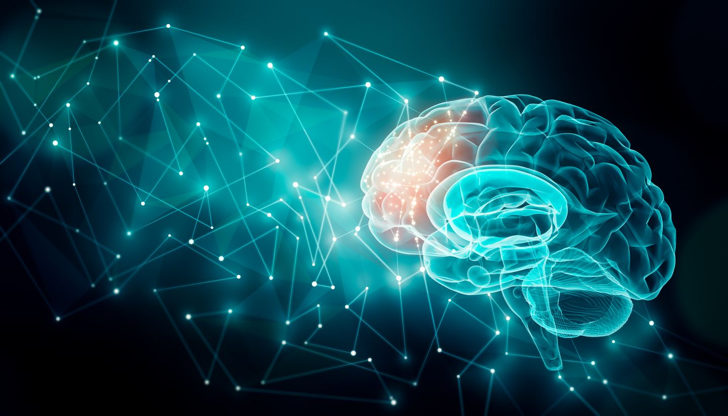 Human brain activity with plexus lines external cerebral connections in the frontal lobe communication psychology artificial intelligence or ai cognition concepts illustration with copy space