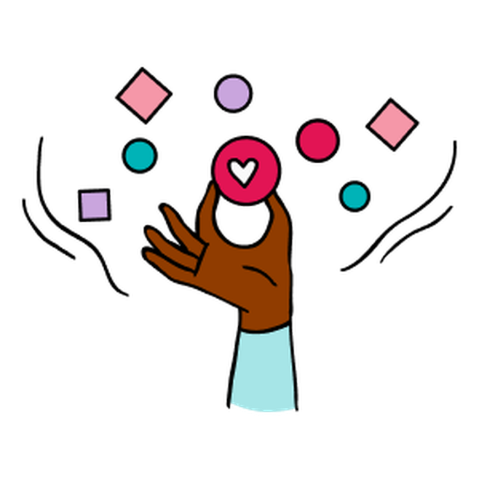 Illustration of a hand reaching for a heart in a circle amidst floating brightly coloured shapes