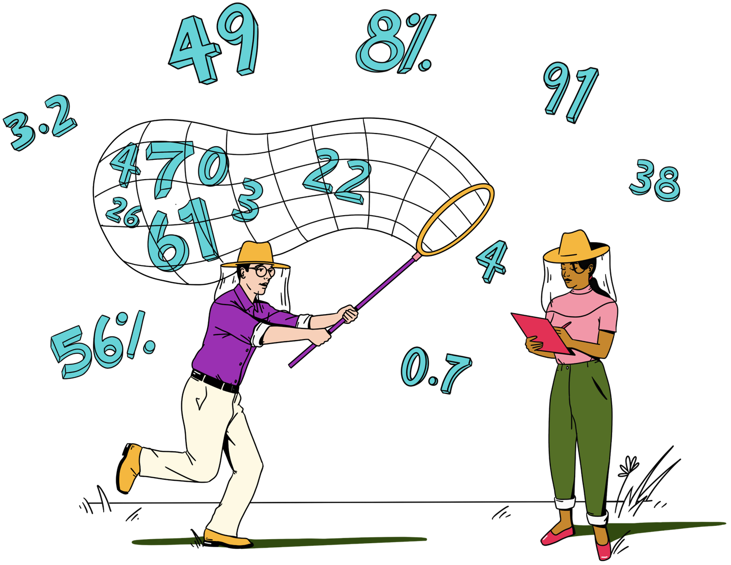 Illustration of two people, one catching floating data with a net, the other making notes on a clipboard