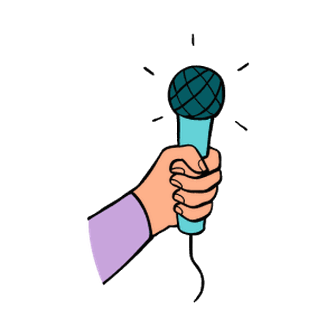 illustration of a hand holding a microphone