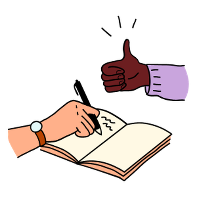 Illustration of a person writing in a notebook while another person is gesturing a thumbs up