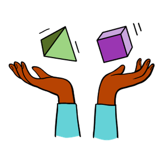 Illustration of two hands with a green pyramid and and purple cube floating above