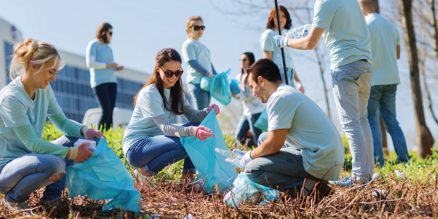Group of volunteers participating in a corporate social responsibility program