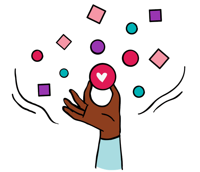 Illustration of a hand holding symbols which represent diversity and inclusion.